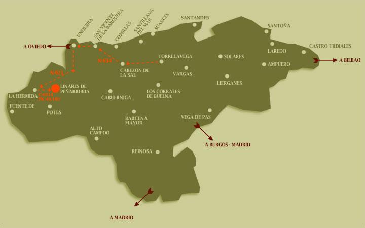 Mapa de accesos, cómo llegar a la Casa Rural Pocotrigo en Linares, Cantabria
