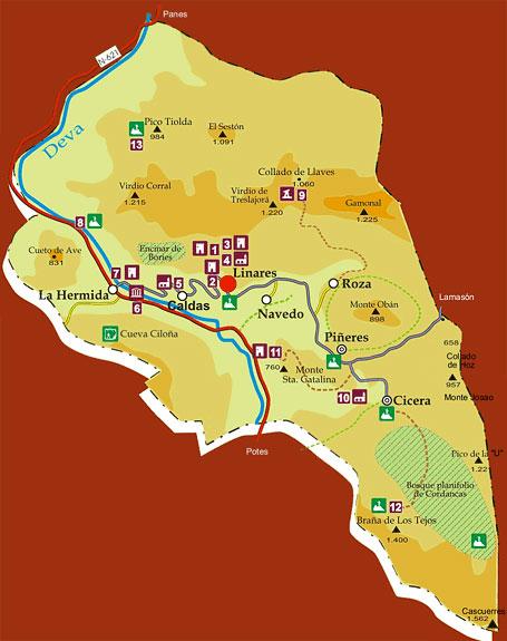 Mapa de interés turístico del entorno de Linares, Peñarrubia, Cantabria